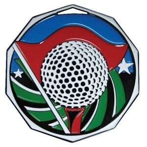 "2"" Golf Decagon Colored Medallion"