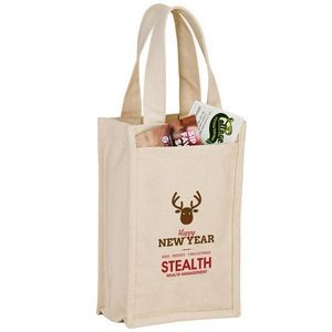 "Heavyweight Cotton Canvas 2 Bottle Wine Tote (7""x3""x11"") - Screen Print"