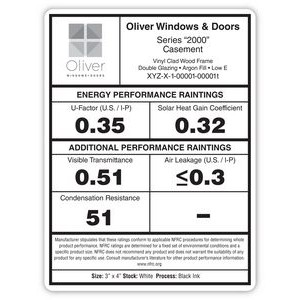 "Repositionable Rectangle Window Cling/Decal (3"" x 4"")"