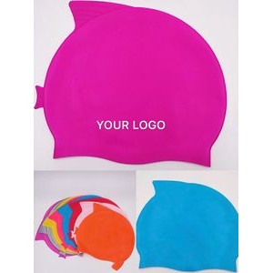 Fish Shape Silicone Swimming Cap For Kids