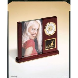 Rosewood Desk Clock w/ Glass Picture Frame (6 3/4