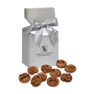 Gourmet Bite-Sized Chocolate Chip Cookies in Silver Gift Box