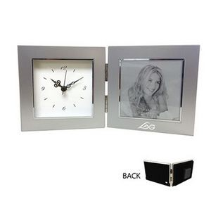 Metal Picture Frame with Clock (3.5