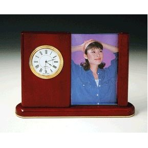 Rosewood Photo Frame w/ Clock