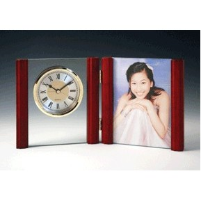 Rosewood Picture Frame w/ Alarm Clock