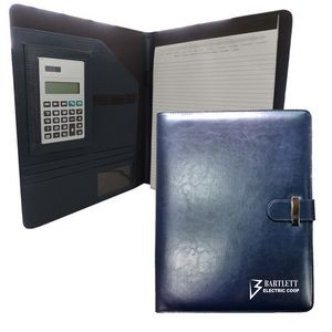 Deluxe Executive Portfolio with Tab Closure (Navy Blue)