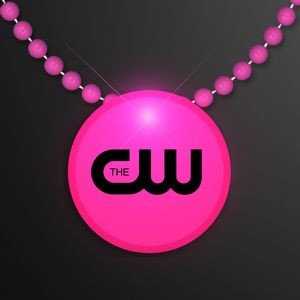Pink LED Circle Badge with Beads
