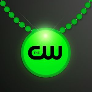 Green LED Circle Badge with Beads
