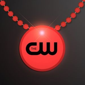 Red LED Circle Badge with Beads