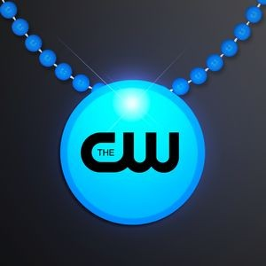 Blue LED Circle Badge with Beads