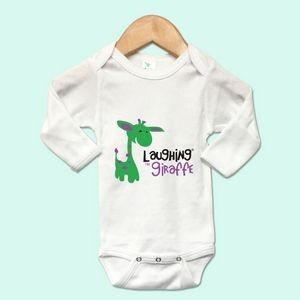 The Laughing Giraffe® Long Sleeve 65% Polyester/35% Cotton Newborn baby Bodysuit w/ Mittens - White