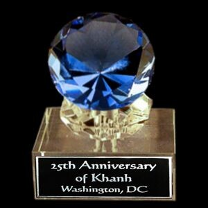 "Solid Crystal Engraved Award - Blue Diamond - 4"" Small"